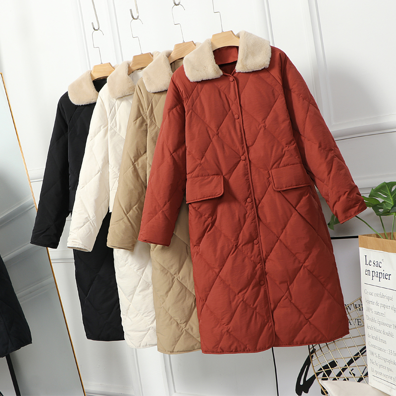 Winter 2020 New red cute lamb fur collar with long over-knee down jacket for schoolgirl warm jacket