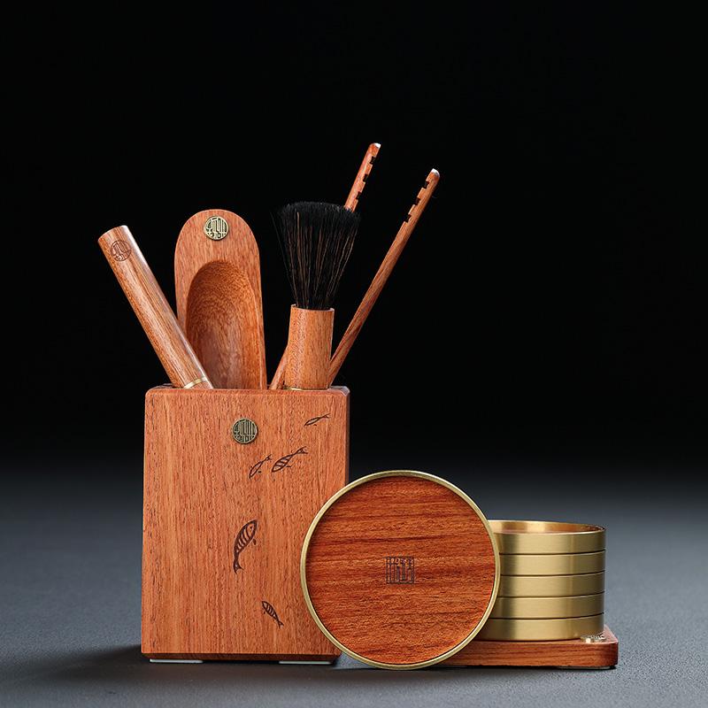 Tea set six gentleman set ebony wood cup cushion solid wood kungfu tea set accessories large full tea clip pen spoon tea set