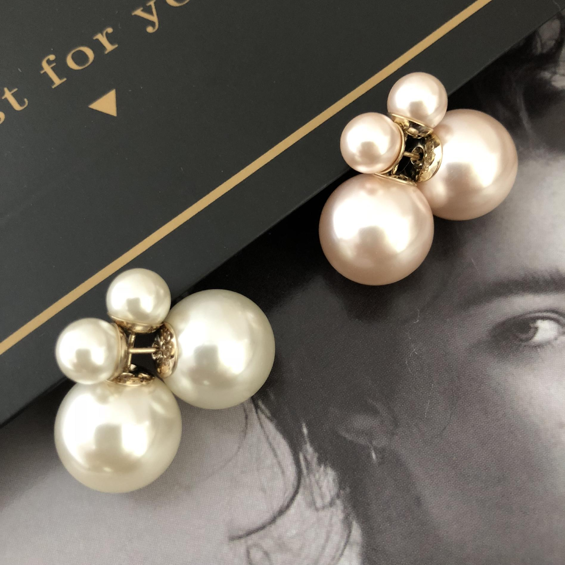 。 Size pearl earrings before and after the female double-sided 925 pure silver natural earrings temperament Japanese Korean net red hundred ears