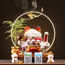 Creative ceramics beckon money cat home store opening gift cash register Bluetooth voice broadcast desktop decoration.