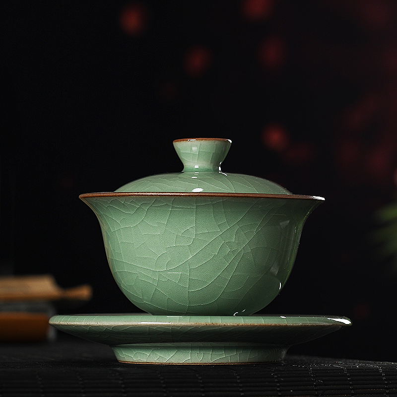 Handmade three only to cover a bowl of tea cup a single non-hot ceramic Longquan kung fu tea set ice crack tea tea bowl green porcelain