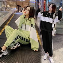 Maternity dress spring suit fashion Korean pregnant women spring and autumn clothes loose hooded sweater belly pregnant women pants two sets