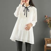 Беременные женщины рабочая одежда рубашка понтон верхней белой нижней рубашке осеннее платье беременная женская одежда весной и осенью стиль прилива сокращения иностранного газа