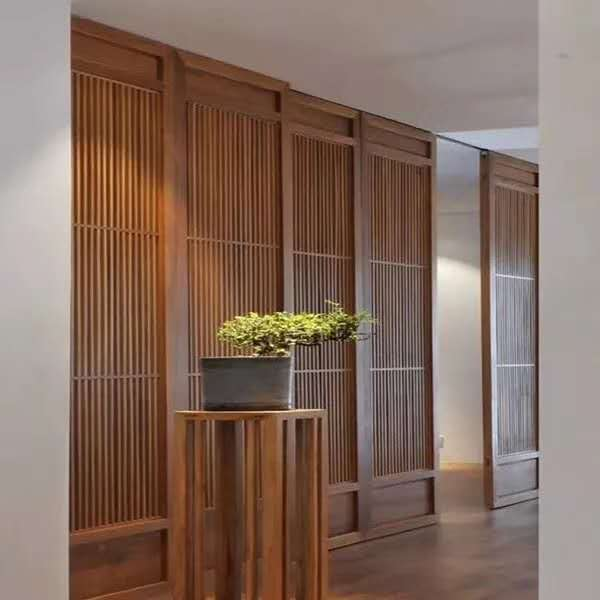 Make solid wood Chinese partition door hollow flower grid partition screen Dongyang wood carving antique door and window background wall ceiling