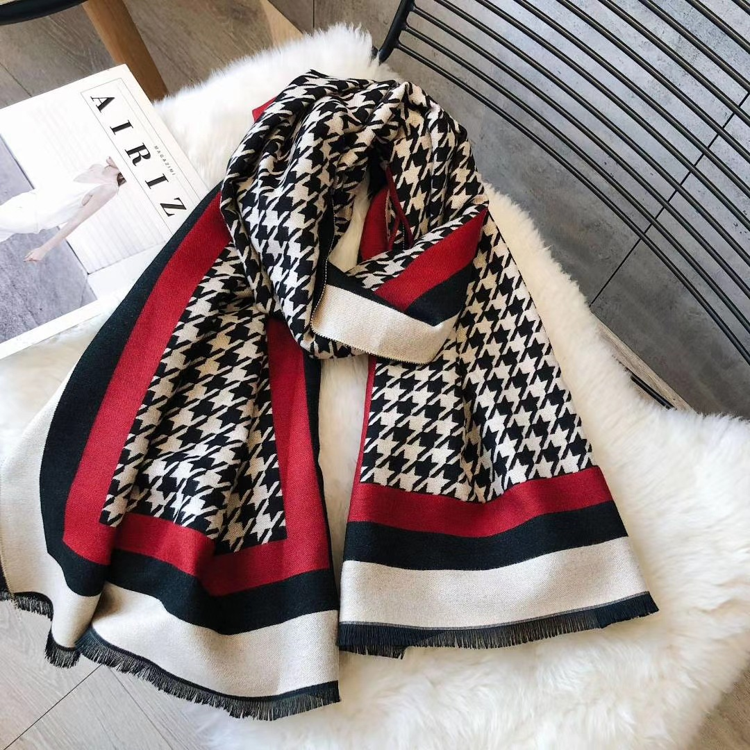 Europe and the United States thousand birds new imitation cashmere scarf women autumn and winter warm and thick beige deflower double-sided air-conditioned shawl