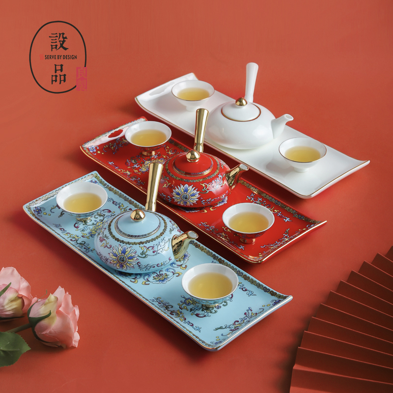 Set up a good hand-painted national tide bone porcelain kung fu tea set home court ceramic with handle teapot teacup gift-giving set