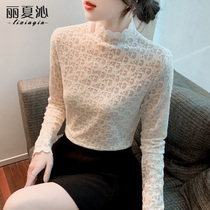 Spring and autumn long sleeve lace base shirt womens autumn and winter clothes 2021 New tidal Air small shirt with clothes
