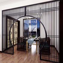 Dongyang wood carving new Chinese moon door Solid wood lattice moon hole door Round arch door Bogu frame Living room antique partition
