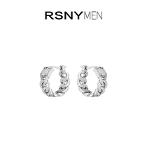 (New product)RSNY MEN chain round earrings Male ins European and American hip hop high-end temperament new trend