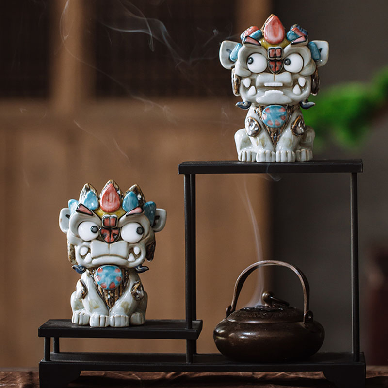 Shun Jiebang 貔貅 town house set pieces to attract money lovely boutique tea set move new home gift little lion pair