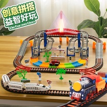 High-speed rail train toy with track large high-speed train electric remote control assembly building block model simulation children