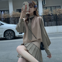 jk uniform college style plaid shirt dress set female 2021 spring and autumn pleated skirt knitted vest two-piece set