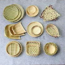 Bamboo products Bamboo compilation Household folk handicrafts 託 plate decoration bamboo basket small basket small vegetable basket
