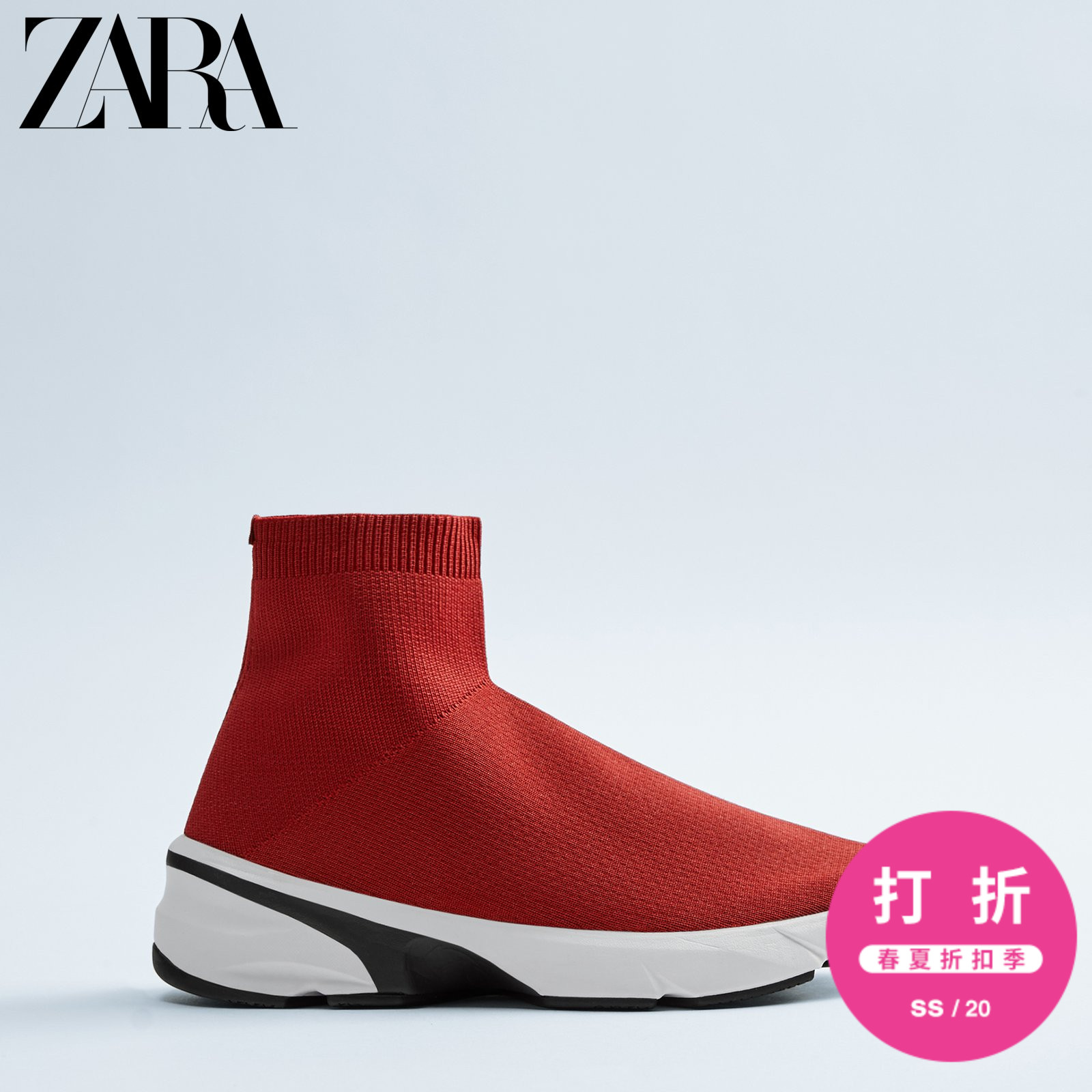 Zara discount men's shoes red sock-style high-top sports short boots 12910521600