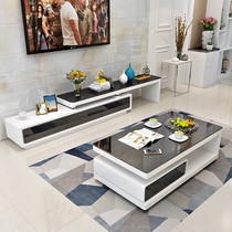 Simple modern coffee table TV cabinet combination fashion living room tempered glass lacquer rectangular coffee Table TV cabinet