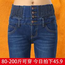 Elastic waist denim XL straight fat mm pencil pants
