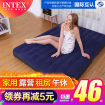 INTEX inflatable mattress home single double thick air cushion bed outdoor portable plus punch bed lazy folding