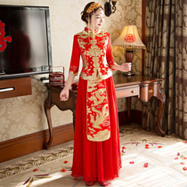 2017 new autumn and winter Chinese wedding gown bride toast dress long married show thin Xiu wo dress Female