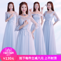 Korean version of the winter grey party evening dress