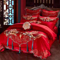 Циши хлопок большой красный дракон и Феникс вышивка хлопок свадебные постельные принадлежности 60 длинный бархат хлопок свадьба сорок шестьдесят штук набор