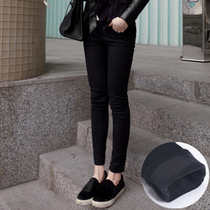 Black autumn and winter Korean version of high waist self-cultivation and cashmere foot pants
