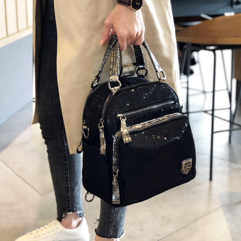 Hong Kong street fashion brand 2020 new Korean version of the backpack female bag portable sequin fashion casual travel bag wild backpack
