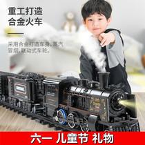 Childrens toy boy simulation high-speed rail parking electric small train set track vintage steam train model