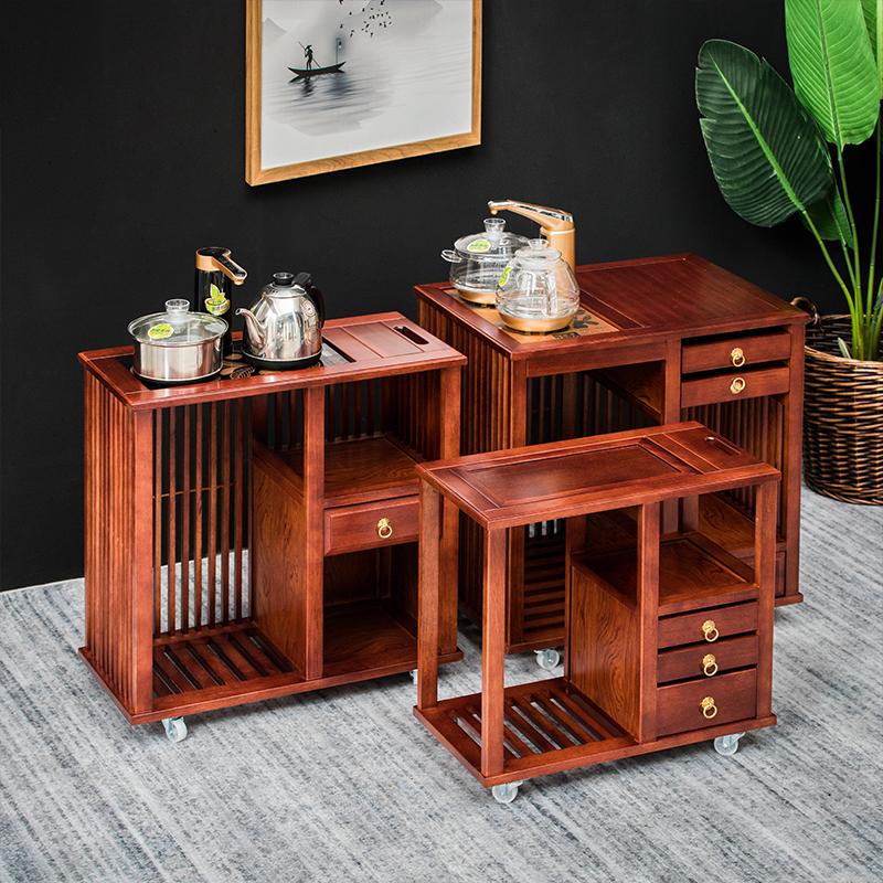 Solid wood tea cabinet tea cabinet kungfu tea set mobile teaside cabinet tea table side cabinet fully automatic water living room