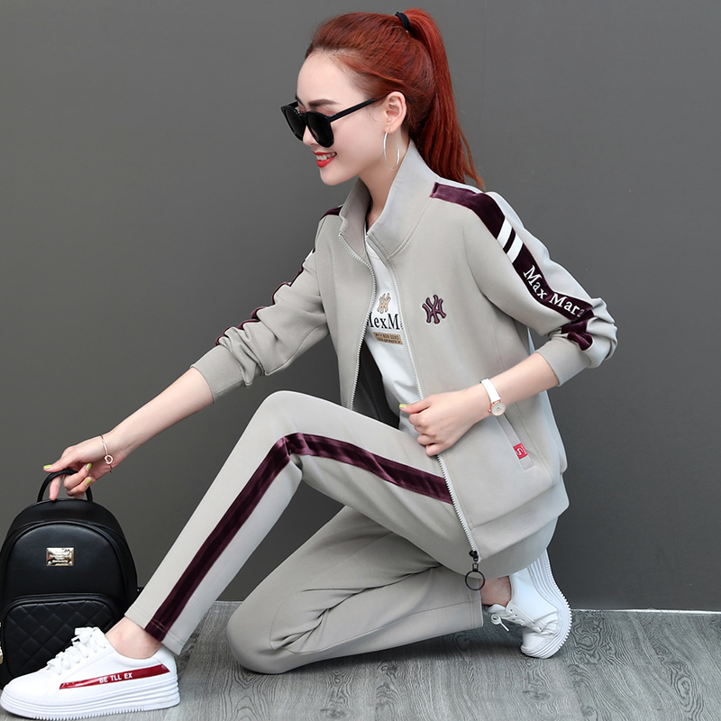 Sports and leisure suit womens spring and autumn 2021 new stand-up collar sportswear fashion loose ocean sweatshirt three-piece set