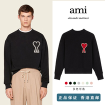 Ami Paris sweater 2021 autumn new big love embroidery round neck men and women couples loose long sleeve top