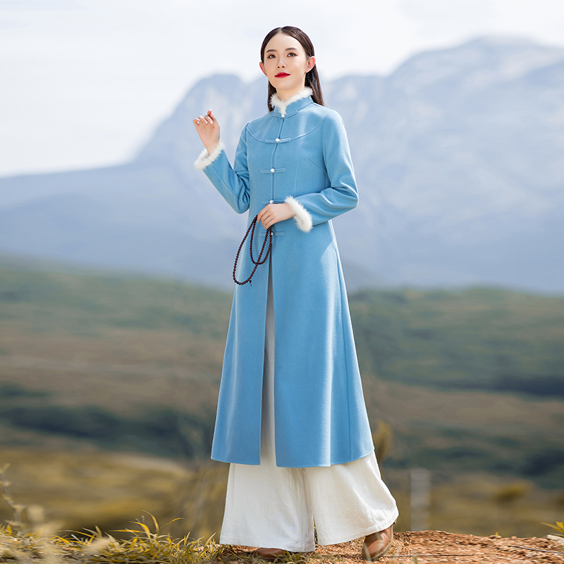 Han clothing improved Tang dress Chinese wind womens suit autumn and winter Republic of China two sets of wool cheongsam coat Zen tea suit