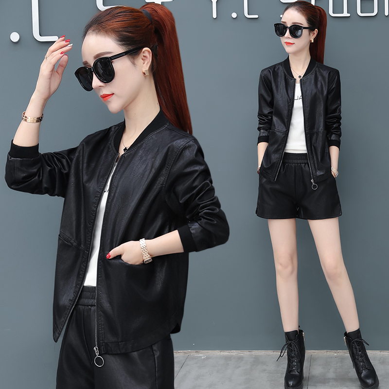 Casual leather jacket female spring and autumn 2021 new loose thin ladies large size short zipper pu leather jacket tide