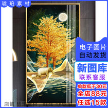 Современная роскошь золотой абстрактный лес фуллок богатства фойе декоративная живопись три изображения стоковый материал электронная картина ядро