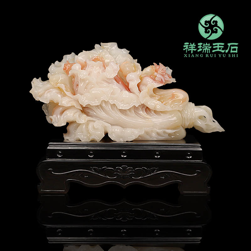 Natural jade cabbage ornaments living room wine cabinet decoration office to attract money set up shop opening business gifts