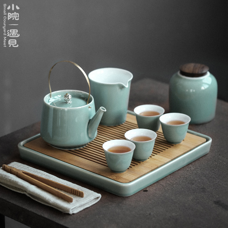Small courtyard Japanese tea set group home simple ceramic teapot teacout kung fu tea set small set with tea plate gift box