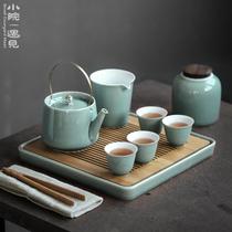 Небольшой двор японский чай набор группы дома простой керамический чайник teacout кунг-фу чай набор небольшой набор с чайной тарелкой подарочная коробка