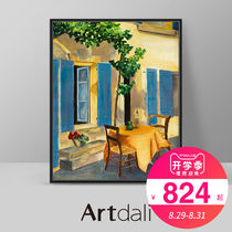 Artali Modern Living Room Point Oil Painting Scenic Decoration Painting Ins in Nordic Restaurant - Blue Venetian