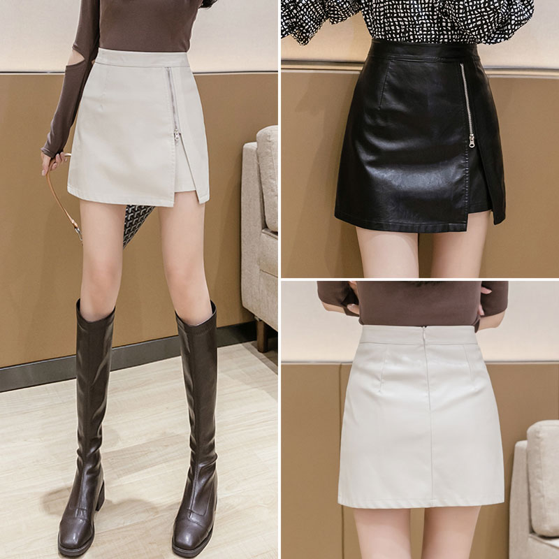 Black bag hip leather short skirt 2020 autumn and winter new fashion irregular small leather skirt female high waist A-line skirt