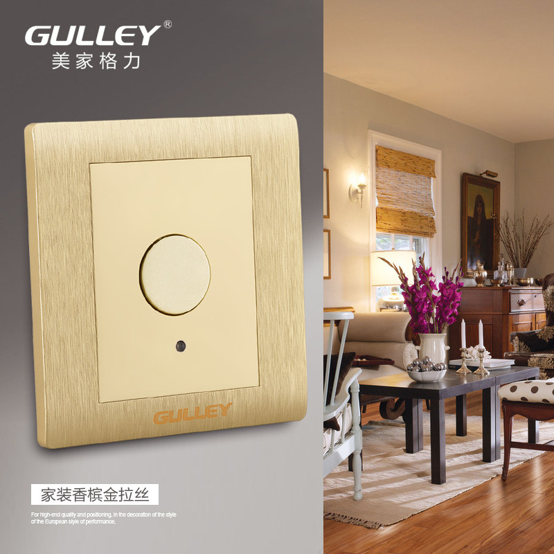 Authentic home two-line energy-saving LED touch delay switch panel single control champagne gold corridor touch switch