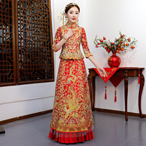 Rental show Wo dress bride 2018 new summer chinese wedding dress Xi Feng coat ancient costume marriage clothing lease