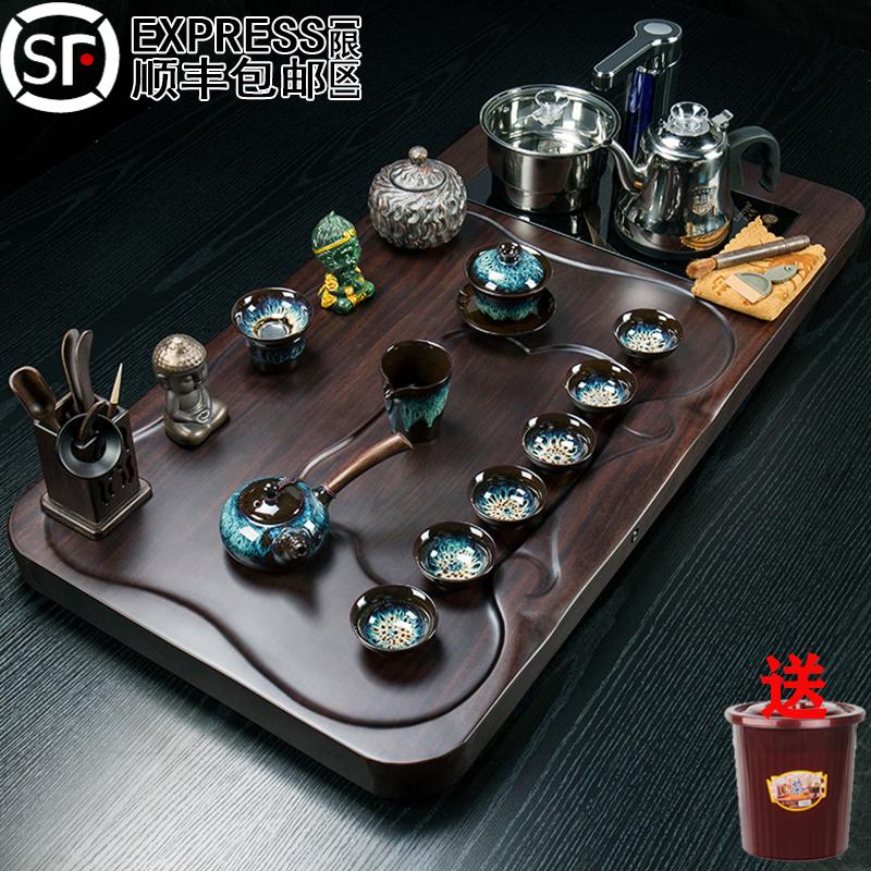 Ebony solid wood tea plate set tea set kung fu tea cup tea table fully automatic kettle all-in-one home