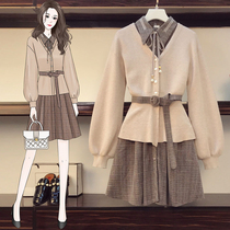 Large size dress set 2020 autumn new womens slightly fat sister thin meat sweater cardigan two-piece set