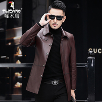 Peckingbird Haining leather leather mens cowhide jacket mid-length leather trench coat youth slim lapel coat tide