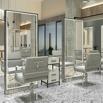 Barber shop double-sided mirror Stainless steel floor mirror Full-length mirror Hair mirror Hair salon special hair salon hair cut mirror