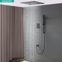 German Black Forest Dark buried wall embedded wall type black thermostatic shower sprinkler large sky full copper suction ceiling spray