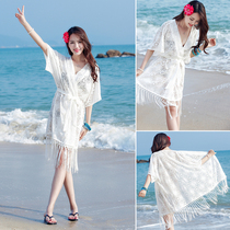 Bikini blouse jacket hot spring bathing suit with lace hollowed seaside beach holiday skirt sunscreen cardigan Girl