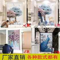 Xuan Guan Wallpaper Vertical print modern simple aisle corridor wall cloth European wallpaper 8d three-dimensional diamond mural Peacock