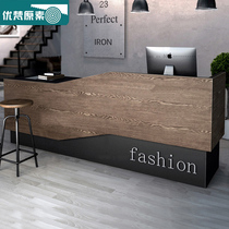 Cashier counter retro bar modern minimalist bar table clothing store Company European-style solid wood reception desk