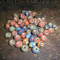 Late Qing Dynasty colorful old glass beads hand string sunflower tattoo old glass bonding price