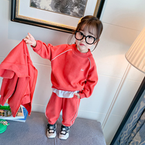 Girls sports suit red sky 2020 spring and autumn childrens Korean version of leisure two-piece female baby three-piece tide